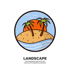 Landscape scenery design with palms growing on vector