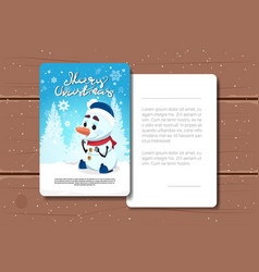 merry christmas card design with snowman image and vector image
