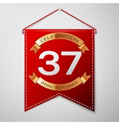 Red pennant with inscription thirty seven years vector