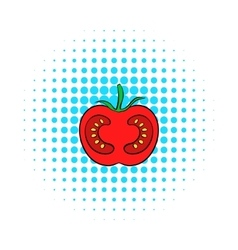 Red tomato icon comics style vector image