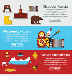 Russia travel banner horizontal set flat style vector