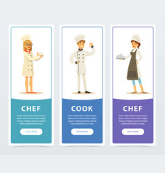 Set of vertical banners with restaurant workers vector
