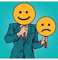 Smiley facial expressions happy and sad vector