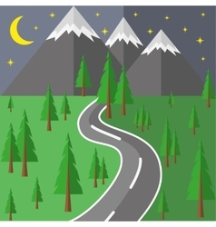 The road into the mountains vector
