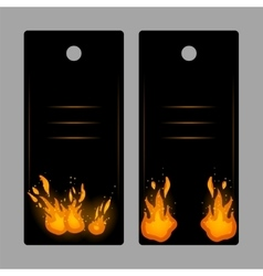 Vertical banners-tags with fire vector