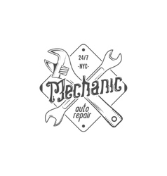 Vintage label design Mechanic auto repair patch vector image