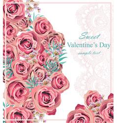 vintage roses floral card background vector image vector image