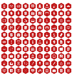100 office icons hexagon red vector