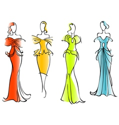 Modern and elegant dresses vector