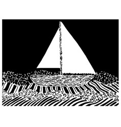 Yacht on sea waves in graphic style vector