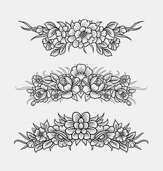 flower and leaves ornament decoration sketches vector image