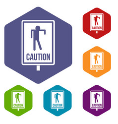 Zombie road sign icons set hexagon vector