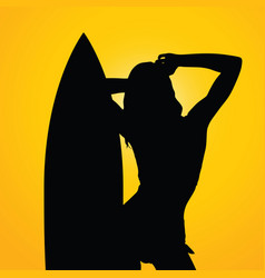 girl with surfboard on yellow background one vector image