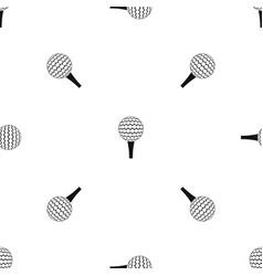 Golf ball on a tee pattern seamless black vector