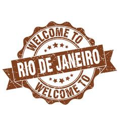 Rio de janeiro round ribbon seal vector