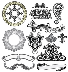 Floral decorative woodprint design elements vector
