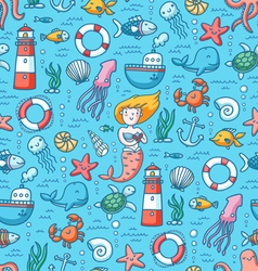 Sea life colorful seamless pattern vector
