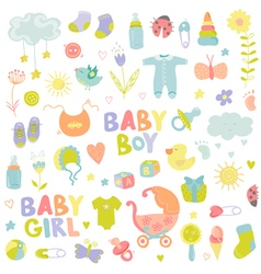 Baby boy or girl design elements vector