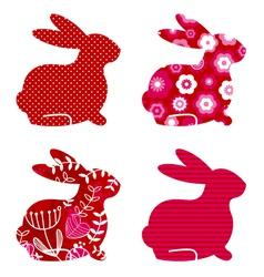 Spring bunny set vector