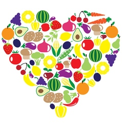 Fruits veggies heart vector