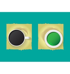 Black coffee and green tea vector