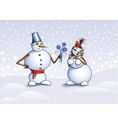 snowmen Christmas card vector image