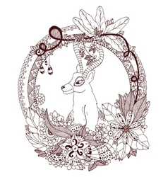 Zen Tangle deer in the round vector image