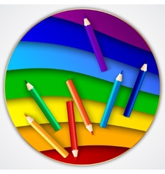 abstract round rainbow circle with color pencils vector image