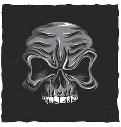 angry skull poster vector image vector image