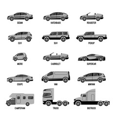 automobile set isolated car models of different vector image