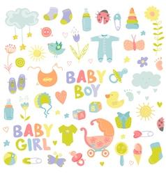 Baby boy or girl design elements vector