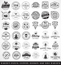 Bakery butchery and pizza badges and labels vector