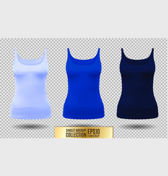 Blank sport tank top for women template set vector