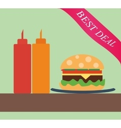 Burger with ketchup and mustard vector image