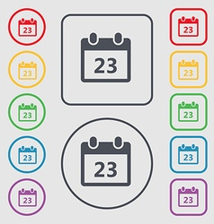 calendar page icon sign symbol on the Round and vector image