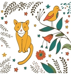 Cat in spring vector