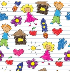 childrens doodle vector image vector image