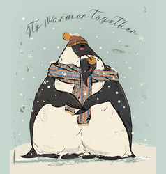 couple of penguins in love vector image