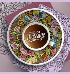 cup of coffee and massage doodles on a saucer on vector image vector image