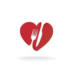Fork and knife with heart shape lovely food logo vector image
