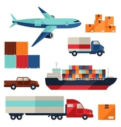 Freight cargo transport icons set in flat design vector image