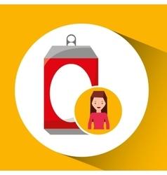 Girl cartoon recycle icon can vector
