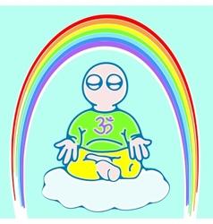 Little man in meditation color version vector