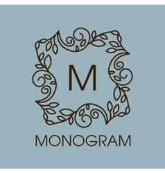 Monogram design floral outline frame or vector image
