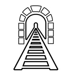 railway tunnel icon outline style vector image