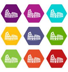 Roman colosseum icon set color hexahedron vector