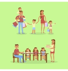 Set of big family portrait vector
