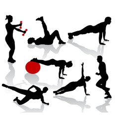 silhouettes of exercises peopl vector image vector image