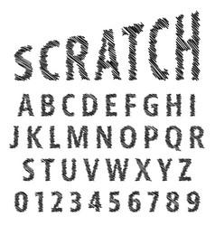 sketch alphabet font template vector image