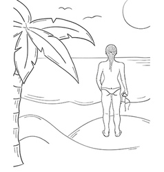 sketch of the girl in swimsuit on the sunny beach vector image